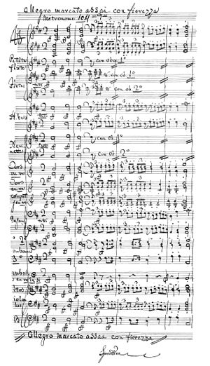 Olimpie - Autograph ms of the first page of the overture
