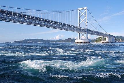 大鳴門橋と鳴門海峡。