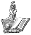 Ornament with books, vase, and picture.png