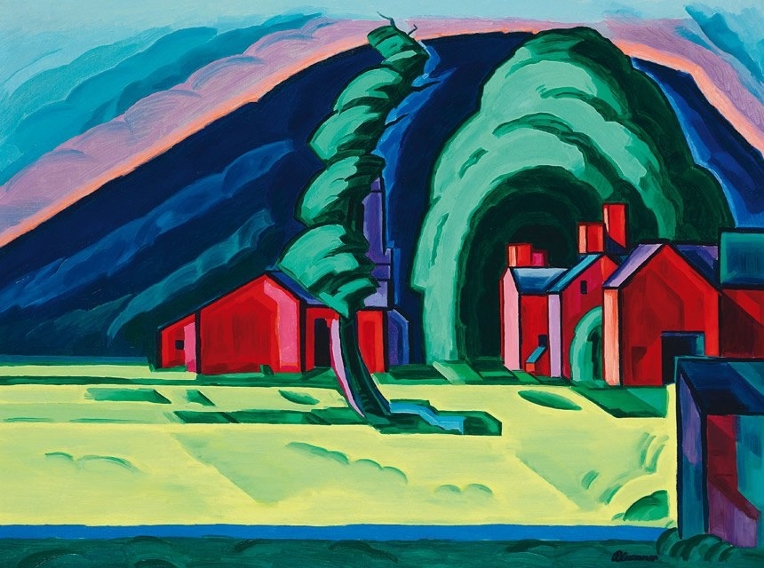 Oscar Floranius Bluemner (1867-1938), Illusion of a Prairie, New Jersey (Red Farm at Pochuck), 1915. Christie%27s