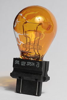 The colour coating has started to flake off this PY27/7W bulb, a relatively new problem PY27 7W lamp used.JPG