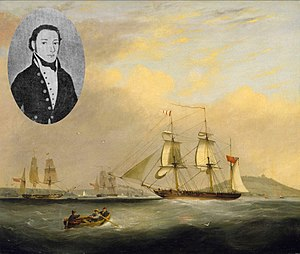 Penmere Manor Hotel, Cornwall - The Packet ship Sheldrake under the command of Captain Passingham entering Falmouth Harbour, 1834
