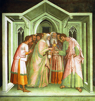 Lippo Memmi - Judas receives the thirty pieces of silver, fresco, San Gimignano.