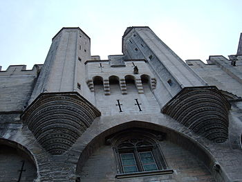 Facade of the Palais des Papes in Avignon, France.