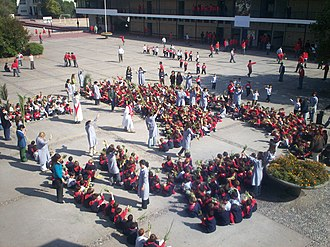 Holy Week in Mexico - Palm Sunday observance at a school