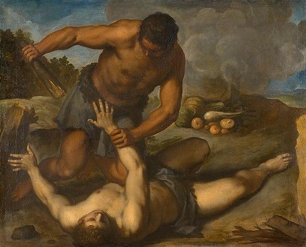 Kain dödar Abel med en sten