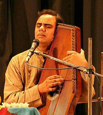 Swarmandal - Pandit Shyam Sundar Goswami with a swarmandal