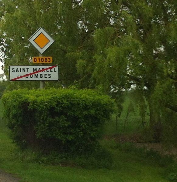 Panneau de sortie de Saint-Marcel-en-Dombes.