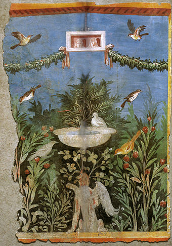 Birds and fountain within a garden setting, with oscilla (hanging masks) above, in a painting from Pompeii Pannello di pittura parietale da area vesuviana, miho museum, shiga 02.jpg