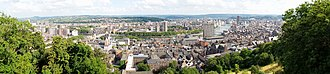 Liège - Panorama of the city of Liège. Photo taken from the heights of the Citadel (left bank of the River Meuse).