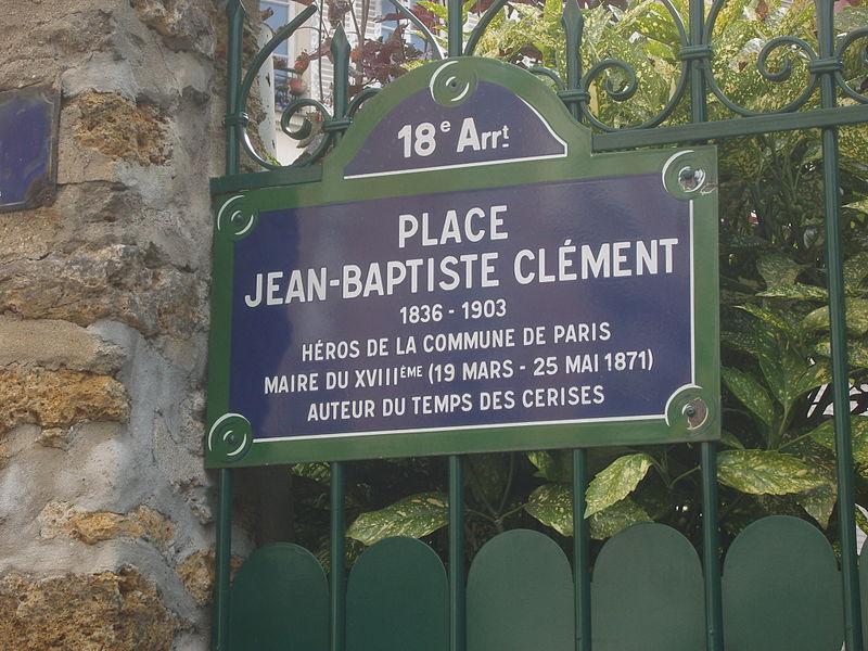 Fichier:Paris 18e - Place Jean-Baptiste-Clément - plaque de rue.jpg