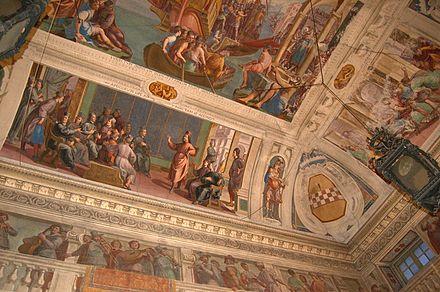 Particolare degli affreschi del piano nobile con le imprese di Megollo Lercari dipinte da Giovanni Carlone