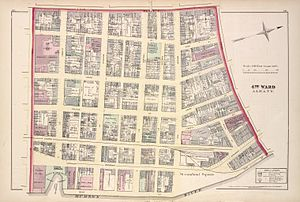Pastures Historic District - Map of Albany's 4th Ward in 1878. The Pastures was included in this ward.