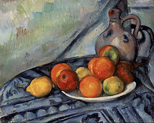 Fruit and a Jug on a Table - Paul Cézanne, 1890-1894, Fruit and a Jug on a Table, oil on canvas, 32.4 x 40.6 cm, Museum of Fine Arts, Boston