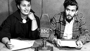 Caribbean Voices - Pauline Henriques and Samuel Selvon reading a story on Caribbean Voices, 1952.