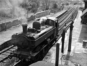 Pengam - Light engine in 1965 at the station on the Brecon and Merthyr line
