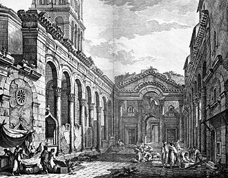 Diocletian's Palace - View of the Peristyle in 1764, engraving by Robert Adam. The Peristyle is the central square of the palace, where the main entrance to Diocletian's quarters (pictured) is located.