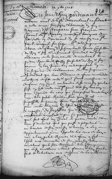 File:Permission accordee par Mr. St Romain de faire passer un canal a travers de sa maison de Ville-Marie pour egouter les eaux de la rue St Paul ce 19 7bre 1708 - A.jpg