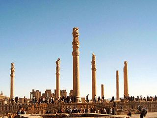 large hypostyle hall, the best known examples being the great audience hall and portico at Persepolis and the palace of Susa