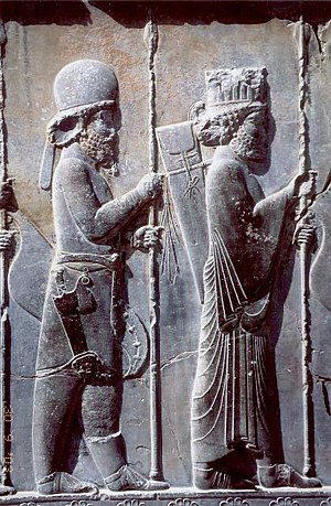 Medes - The Apadana Palace in Persepolis, Iran, northern stairway (detail) – fifth-century BC Achaemenid bas-relief shows a Mede soldier in traditional Mede costume (behind Persian soldier)