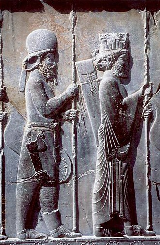 Medes - The Apadana Palace, northern stairway, 5th century BC Achaemenid bas-relief shows a Mede soldier behind a Persian soldier, in Persepolis, Iran