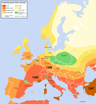 """Consequences of the Black Death - The spread of the """"Black Death"""" from 1347 to 1351 through Europe"""