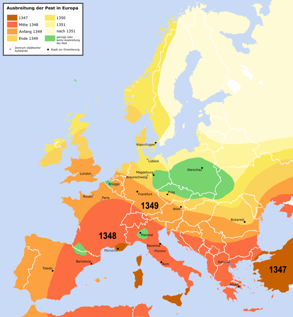 Pestilence spreading 1347-1351 europe