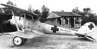 Pfalz D.III - Pfalz D.IIIa (serial 8413/17) flown by Oberleutnant Walter Ewers of Jasta 77b.  The aircraft displays hastily applied Balkenkreuz markings
