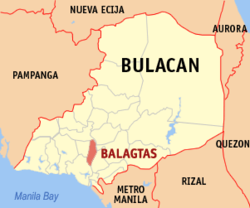 Map of Bulacan showing the location of Balagtas