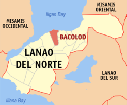 Map of Lanao del Norte with Bacolod highlighted