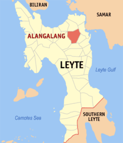 Map of Leyte with Alangalang highlighted