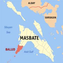 Map of Masbate with Balud highlighted