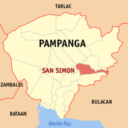 Map of Pampanga showing the location of San Simon