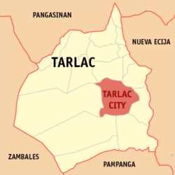 Map of Tarlac showing the location of the city of Tarlac.