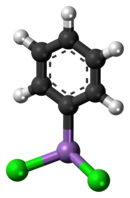 Ball-and-stick model of the phenyldichloroarsine molecule