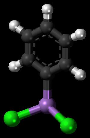 Phenyldichloroarsine - Image: Phenyldichloroarsine molecule ball
