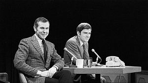 Phil Donahue - Donahue (right) with guest Johnny Carson in August 1970
