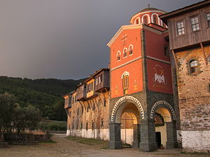 Philotheou monastery - The monastery at dawn.