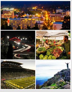Clockwise: Dountoun Eugene frae Skinner Butte, Lane County Farmers' Market, Hikin on Spencer Butte, Varsity o Oregon Autzen Stadium, Delta Ponds pedestrian bridge