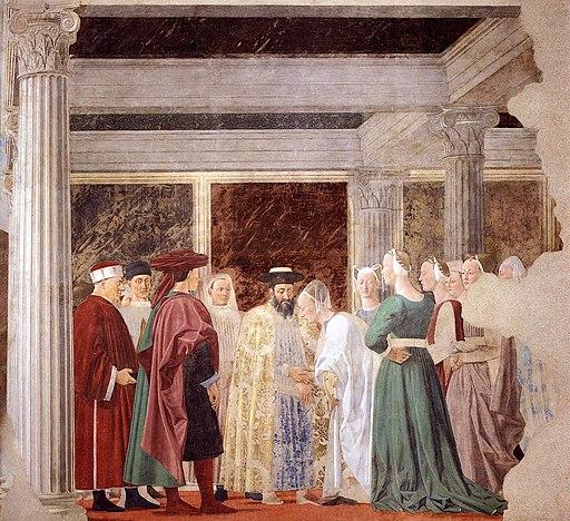 Piero della Francesca, Le Storie della Vera Croce, Incontro tra Salomone e la Regina di Saba, Basilica di San Francesco, Arezzo
