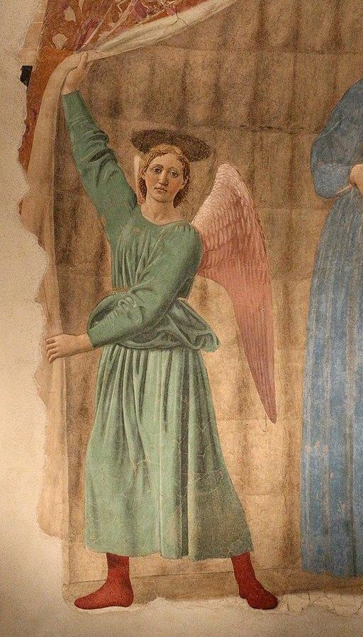 Piero della francesca, Madonna del parto, 1455-1465, dettaglio dell'angeloposto a sinistra