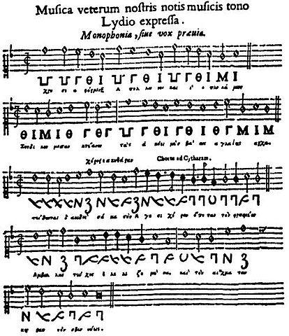 Ода Пиндара, по публикации Афанасия Кирхера (1650). Долгое время считалась древнейшим сохранившимся музыкальным произведением