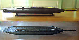 Pneumatic motor - The first mechanically powered submarine, the 1863 French submarine Plongeur, used a compressed-air engine. Musée de la Marine (Rochefort).
