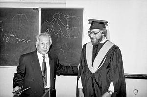 Доктор наук Википедия А К Айламазян слева вручает диплом доктора наук С М Абрамову 1996 год Защита диссертации