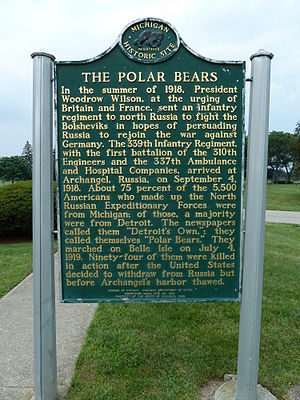 Polar Bear Expedition - Historical marker for Polar Bear Monument in White Chapel Cemetery, Troy, Michigan