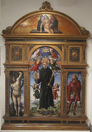 Vincenzo Civerchio -  altarpiece of St. Nicholas of Tolentino, Pinacoteca Tosio Martinengo, 1495