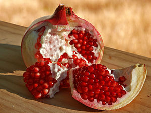 Pomegranate fruit, opened.
