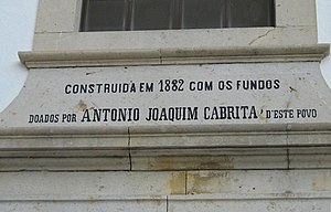 Church of Our Lady of the Incarnation (Porches) - Inscription dedicated to philanthropist António Joaquim Cabrita, a benefactor of the parochial church