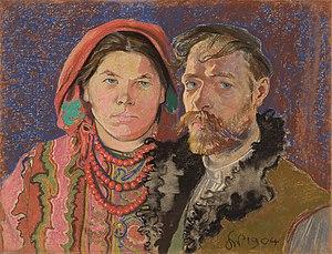 Chłopomania - Painter and playwright Stanisław Wyspiański, self-portrait with peasant wife Teofilia Pytko, 1904