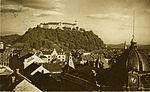 Postcard of Ljubljana Castle from Nebotičnik 1928.jpg
